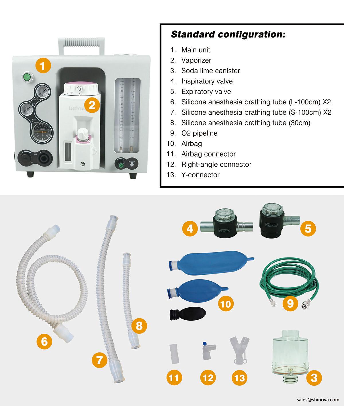 Portable Anesthesia Machine Shinova Vet Veterinary